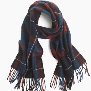 NWT J CREW mosaic wool scarf RED BLUE PLAID